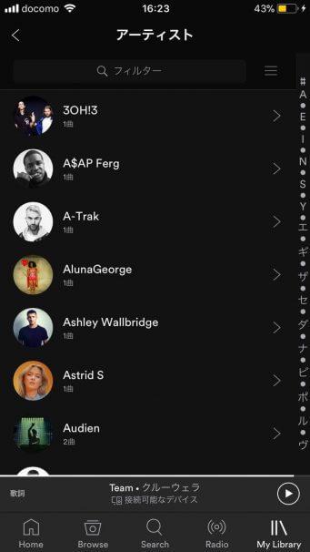 Spotify アーティスト画面