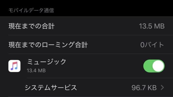 Apple Musicで曲を再生した時に使うデータ通信量(高品質)