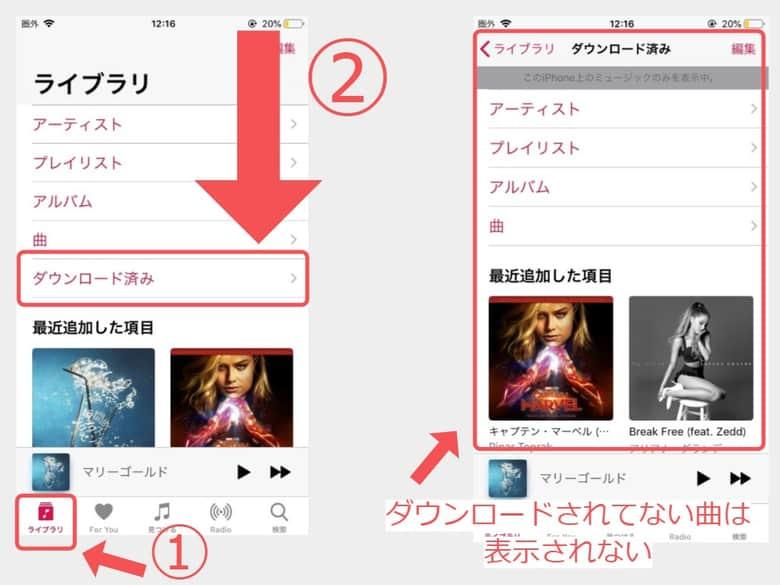 Apple Musicでダウンロードした曲だけを表示する方法